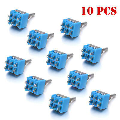 10 Pcs Mini Blue Toggle Switch DPDT 3 Position ON-OFF-ON 6-PIN 6A 125V MTS-203