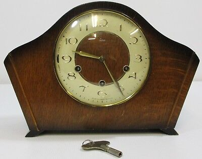 Vintage Smiths 8 Day Westminster Chiming Mantle Clock with Key