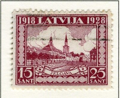 LATVIA; 1928 early Memorial Fund issue fine used 15s. value