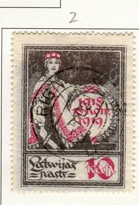 LATVIA; 1919 Independence Anniv. issue fine used 10k. value Type Z