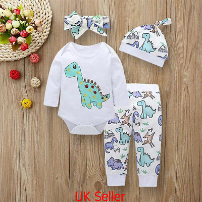 4PCS Newborn Baby Boys Girls Clothes Dinosaur Romper Jumpsuit Pants Outfits Set