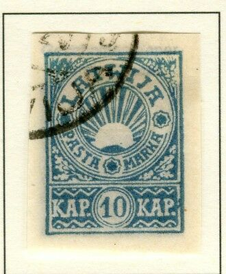 LATVIA; 1919 early Rising Sun IMPERF issue fine used 10k. value