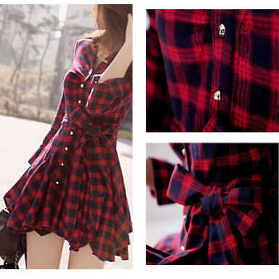 Sexy Women Casual Long Sleeve Plaid Dress Evening Party Cocktail Mini Dress