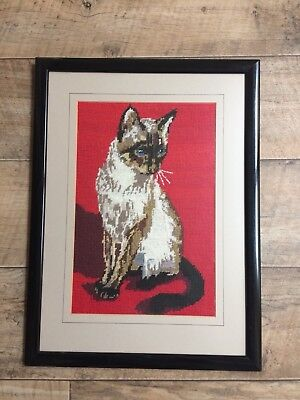 Framed & Completed Tapestry Piece of a Cat