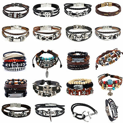 Men Ladies Valentine Gift Unisex Real Genuine Leather Braided Bracelet Wristband
