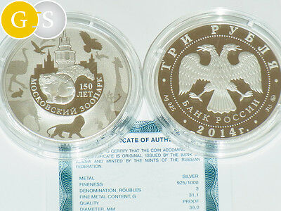 3 Rubel rubles 1 Oz Silber PP Proof Russland 2014 Moskau Moscow Zoo Russia