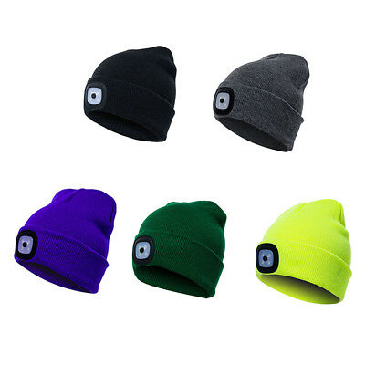 LED Light Knit Beanie Cap Hat Head Lamp Outdoor Hunting Camping Fishing Hiking