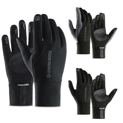 US Men Fashion Insulated Genuine Leather Gloves Light Fleece Lining For Winter