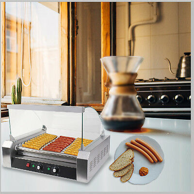 US Commercial 30 Hot Dog Machine Hotdog 11 Roller Grill Cooker Machine w/ Cover