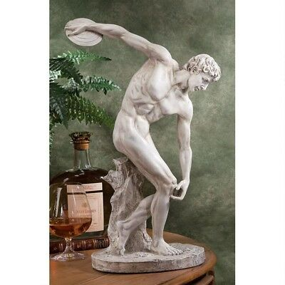 Classic Olympic Greek Discus Thrower Sculpture Male Perfection Form Statue