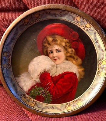 Old metal tray - CD Kenny Coffee & Spice Co. - Christmas image - girl with muff