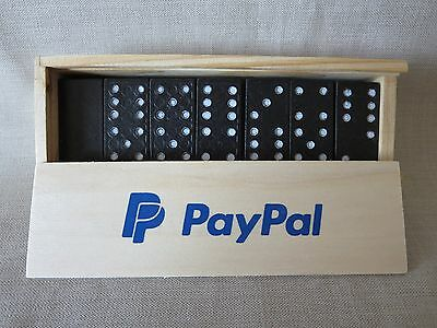 Rare PAYPAL Double Six Professional Dominoes in Wooden Case 28 Piece Collectible