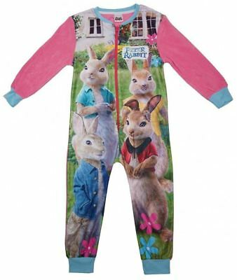 Character Girls Peter Rabbit  All in One Sleepsuit Pyjama Fleece 18 to 5 Years