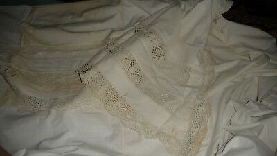 """#844 Antique  WHITE BED  top SHEET 64"""" w x 80"""" l WITH 22 1/2'' FOLD OVER"""