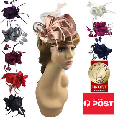 Women's Fashion Fascinators Spring Races Melbourne Cup Wedding Hat Satin Finish