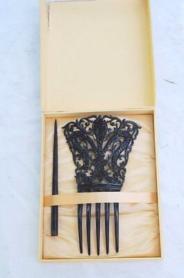 1900 Sparkling Fancy Black Rhinestone Mantilla Comb In Original Box