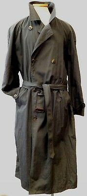 Mens Brooks Brothers Olive Green Nylon Full Length Lined Belted Trench Coat 44L
