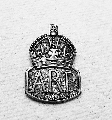 Wwii British Sterling Silver Lapel Arp Badge Dated 1938 Full Hallmarks