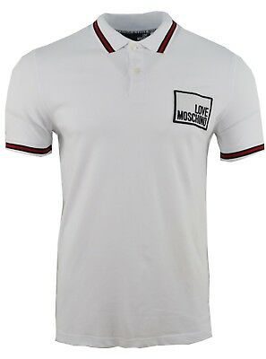 edc134b14 Love Moschino Embroidered Chest Logo Rectangle Badge Polo Shirt White & Red  Trim