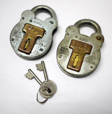 2x Vintage Squire Old English 440 Padlocks - 2 Matched Keys - Made in England