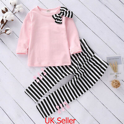 Kids Baby Girls Outfit Set Bow T-shirt+Stripe Pants Set Toddler Autumn Clothes