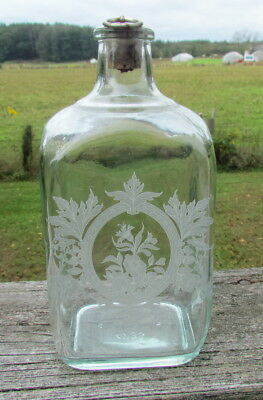 Vintage etched glass pinched decanter bottle flask 7.5""