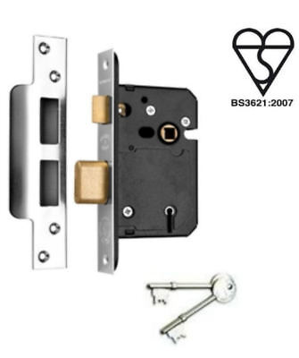 "5 Lever Mortice Door Sashlock 2 1/2"" Steel High Security BS Sash Lock 64mm 7144"