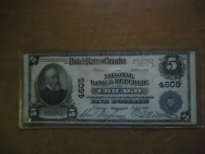 1902 Large Size  $5.00 #7860 National Bank Note Currency