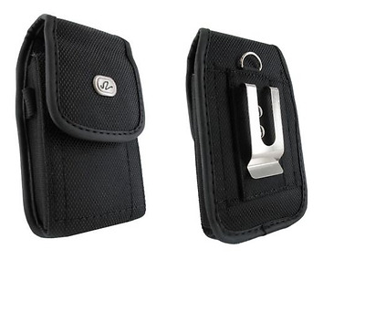 Black Canvas Case Pouch Holster w Belt Clip for GreatCall Jitterbug Smart2