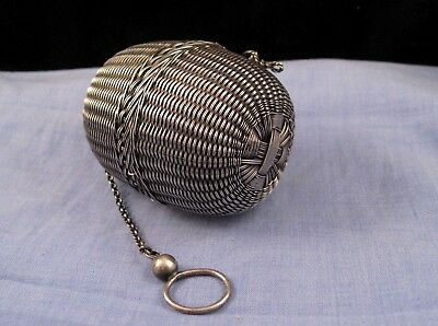 Antique Japanese Asian Silver Miniature Fishing Basket Ball Box Tea Strainer