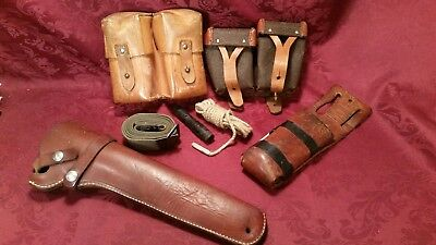 Estate Find Lot Vintage Military Leather Dual Ammo Pouch AND MORE!!!