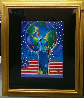 2001 Peter Max Mixed Media Blend Painting Ltd Edition Peace on Earth 24x18 coa
