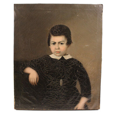 Antique Portrait of Boy in Black - China Trade Oil Painting - c. 1840s - AAFA
