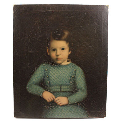 Antique Portrait of Girl in Blue - China Trade Oil Painting - c. 1840s - AAFA