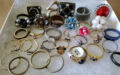 Huge Lot Vtg-Mod Jewelry Rings Rhinestones Flowers Minnie GE Repair 30pc