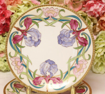 Gorgeous Hand Painted Limoges, Dessert Plates with Iris (3)