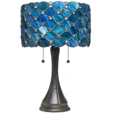 Blue Stained Glass Style Lamp Table Desk Jeweled Light Victorian Den