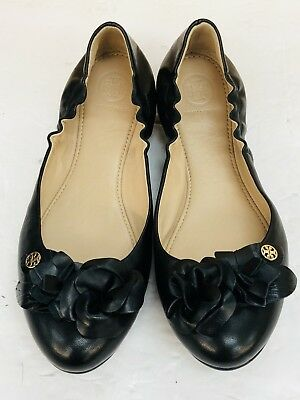 7940717b244 NEW TORY BURCH Blossom Floral BLACK Leather Logo Ballet Flat Shoes Size 6.5