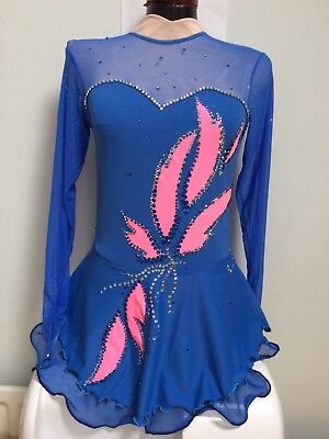 ice skating dress blue pink gems long sleeve age 10 - 13