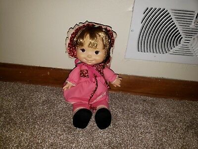 "Vintage Fisher Price NATALIE Lapsitter Doll #202 13/"" Pink Soft Body"