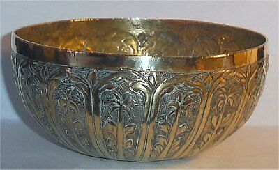 19th Cent Indian Kutch Solid Silver Gilded Inner Small Repousse Divination Bowl