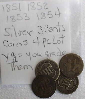 4 Coins 1851 1852 1853 1854 Silver Three Cent Piece US Type Coins 3 Cents YG K