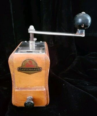 Vintage German Zassenhaus Wood Cabinet Coffee Grinder 6.5 X 4.75 X 3""