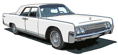 Lincoln 1963 Continental canvas art print by Richard Browne