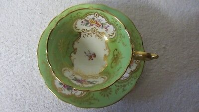 Coalport Bone China England Footed Cup and Saucer Green Gold Trim Used