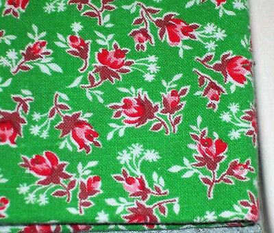 Vintage Colorful GREEN Feed Sack Feedbag Little Red Rose Buds & Roses
