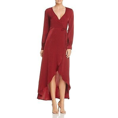 fff01e94c8 New  200 Lost + Wander Women s Burgundy Red Maxi High Low Wrap Dress Size L