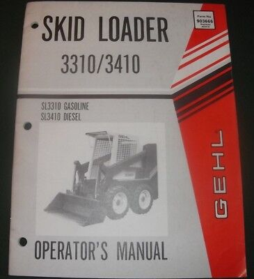GEHL SL-2600 SKID Loader Operator Operation Maintenance Book Manual on
