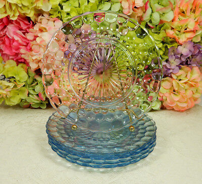 6 Beautiful Vintage Anchor Hocking Depression Glass Dinner Plates ~ Blue Bubble