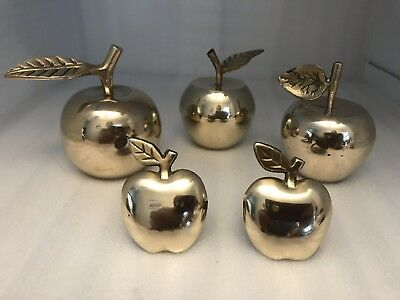 Lat of 5 VTG. Brass Apple Bells, Paperweight, Napkin Holders